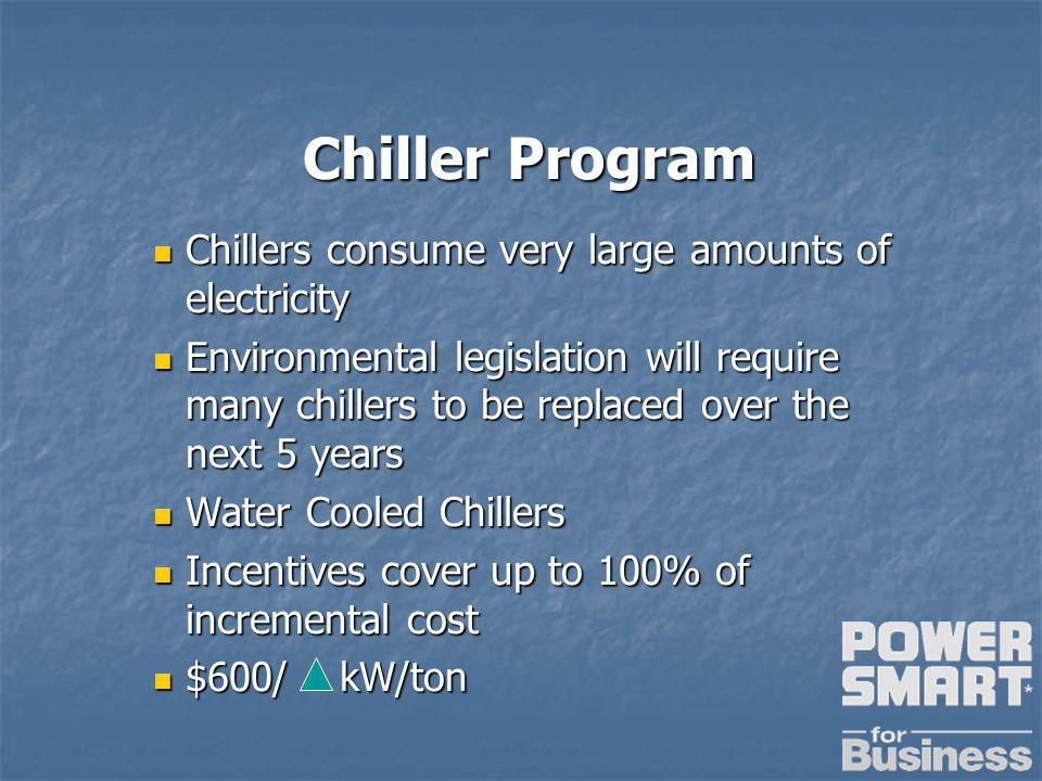 Chiller Program Chiller Program Chillers consume very large amounts of electricity Chillers consume very large amounts of electricity Environmental legislation will require many chillers to be replaced over the next 5 years Environmental legislation will require many chillers to be replaced over the next 5 years Water Cooled Chillers Water Cooled Chillers Incentives cover up to 100% of incremental cost Incentives cover up to 100% of incremental cost $600/ kW/ton $600/ kW/ton