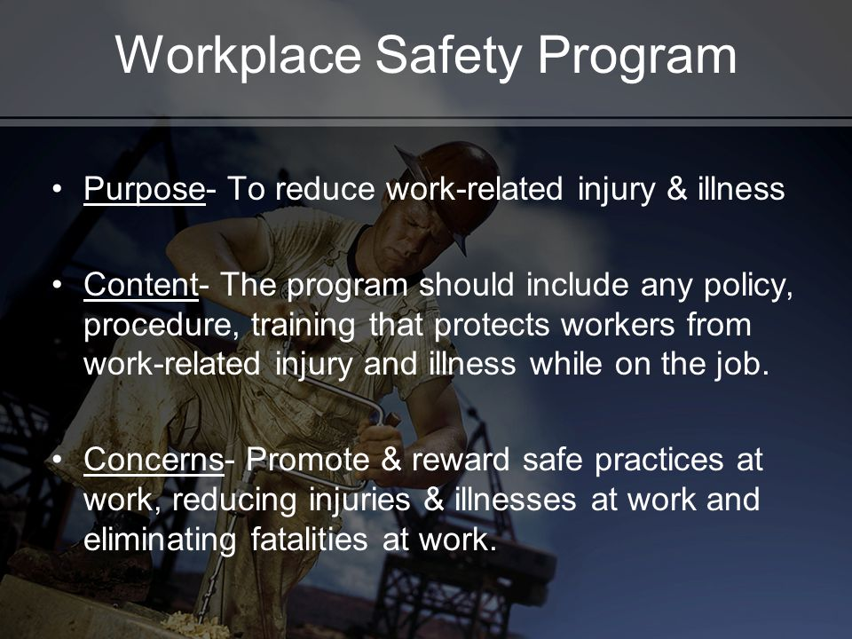 Workplace Safety Program Purpose- To reduce work-related injury & illness Content- The program should include any policy, procedure, training that pro