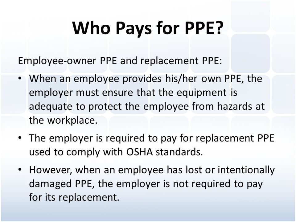 Who Pays for PPE.