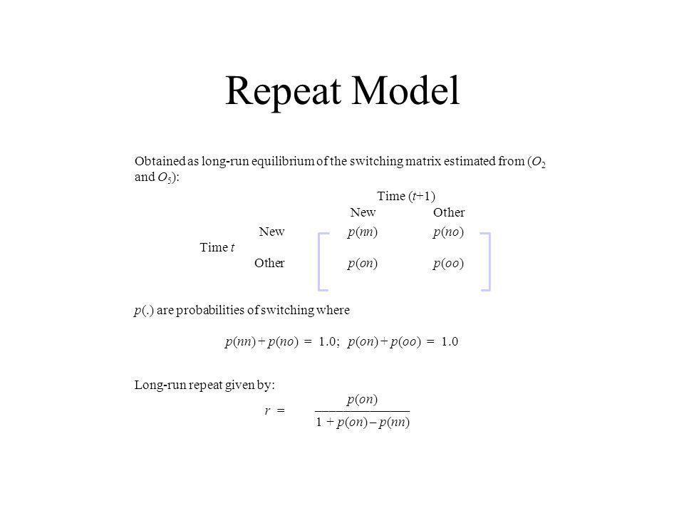 Repeat Model Obtained as long-run equilibrium of the switching matrix estimated from (O 2 and O 5 ): Time (t+1) NewOther Newp(nn)p(no) Time t Otherp(o