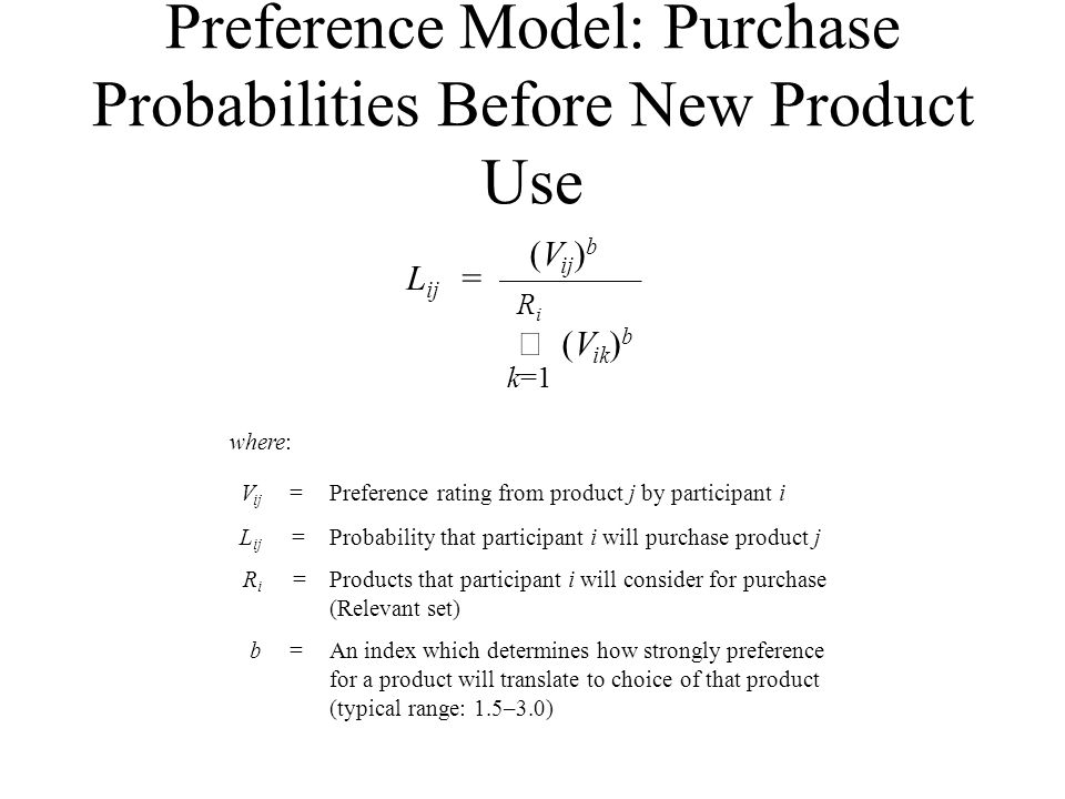 Preference Model: Purchase Probabilities Before New Product Use where: V ij =Preference rating from product j by participant i L ij =Probability that