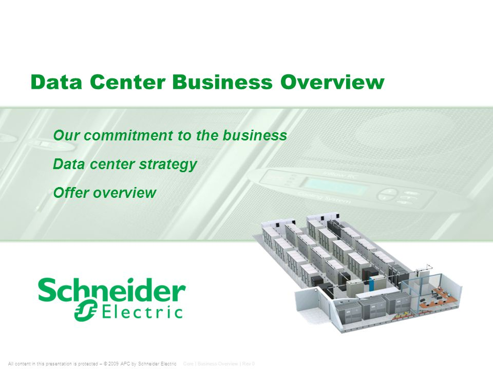 All content in this presentation is protected – © 2009 APC by Schneider Electric Core | Business Overview | Rev 0 Data Center Business Overview Our co