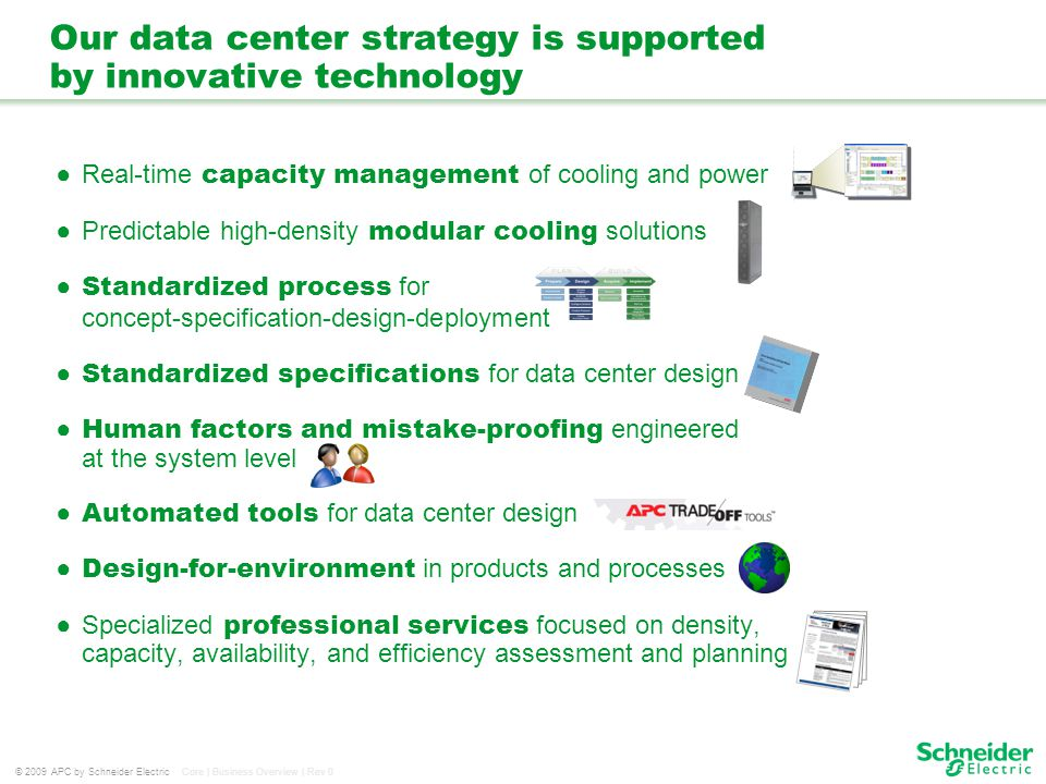 © 2009 APC by Schneider Electric Core | Business Overview | Rev 0 Our data center strategy is supported by innovative technology Real-time capacity ma