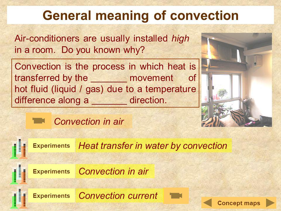 General meaning of convection Air-conditioners are usually installed high in a room. Do you known why? Convection is the process in which heat is tran