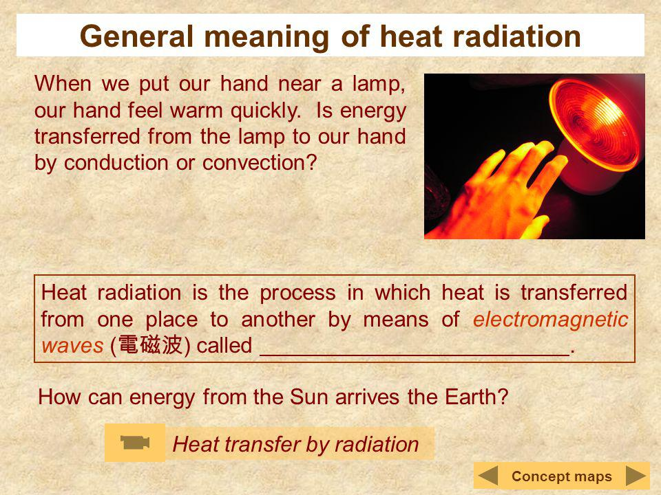 General meaning of heat radiation When we put our hand near a lamp, our hand feel warm quickly. Is energy transferred from the lamp to our hand by con