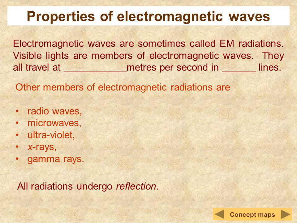 Properties of electromagnetic waves Electromagnetic waves are sometimes called EM radiations. Visible lights are members of electromagnetic waves. The