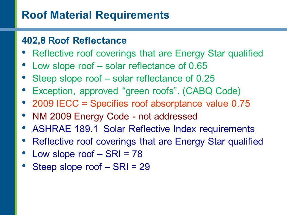 Roof Material Requirements 402,8 Roof Reflectance Reflective roof coverings that are Energy Star qualified Low slope roof – solar reflectance of 0.65