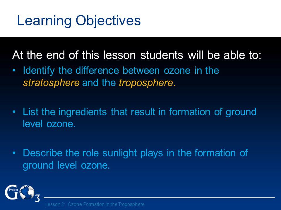 Learning Objectives At the end of this lesson students will be able to: Identify the difference between ozone in the stratosphere and the troposphere.