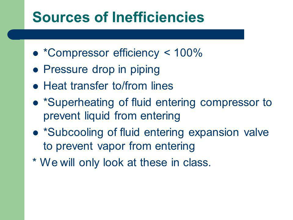 Sources of Inefficiencies *Compressor efficiency < 100% Pressure drop in piping Heat transfer to/from lines *Superheating of fluid entering compressor