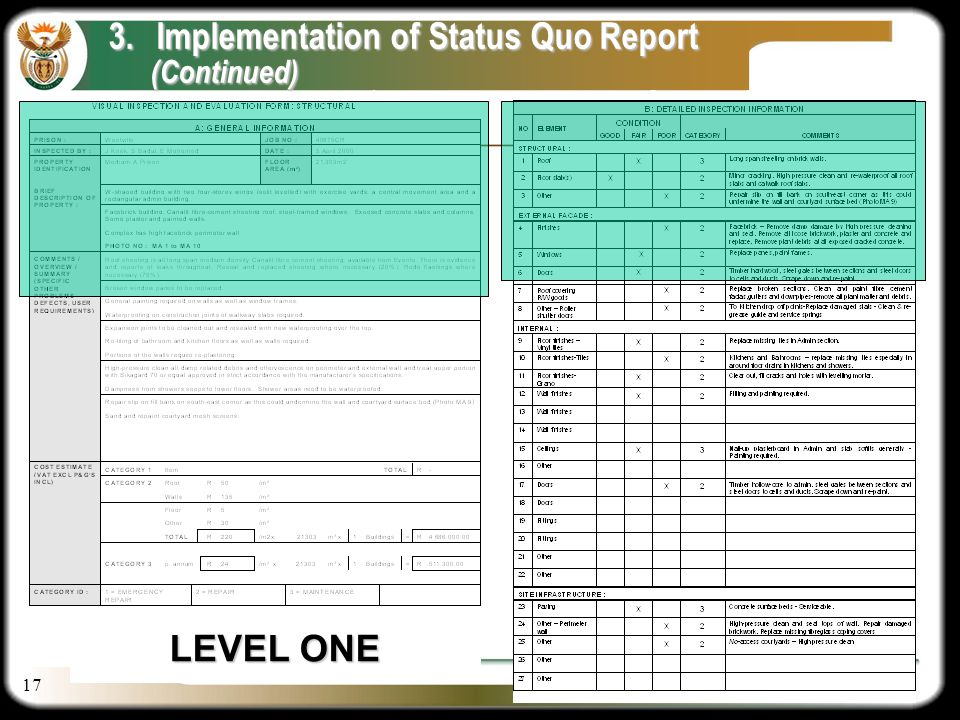 17 DV LEVEL ONE 3.Implementation of Status Quo Report (Continued) (Continued)