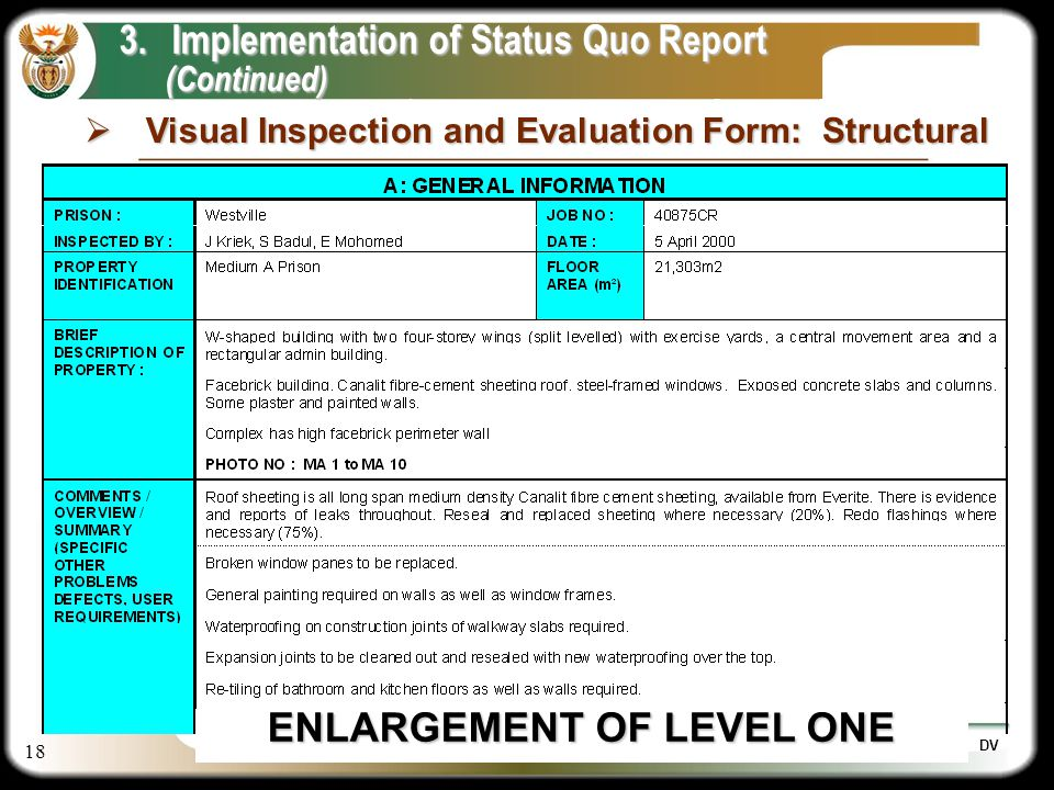18 DV 3.Implementation of Status Quo Report (Continued) (Continued) ENLARGEMENT OF LEVEL ONE Visual Inspection and Evaluation Form: Structural Visual