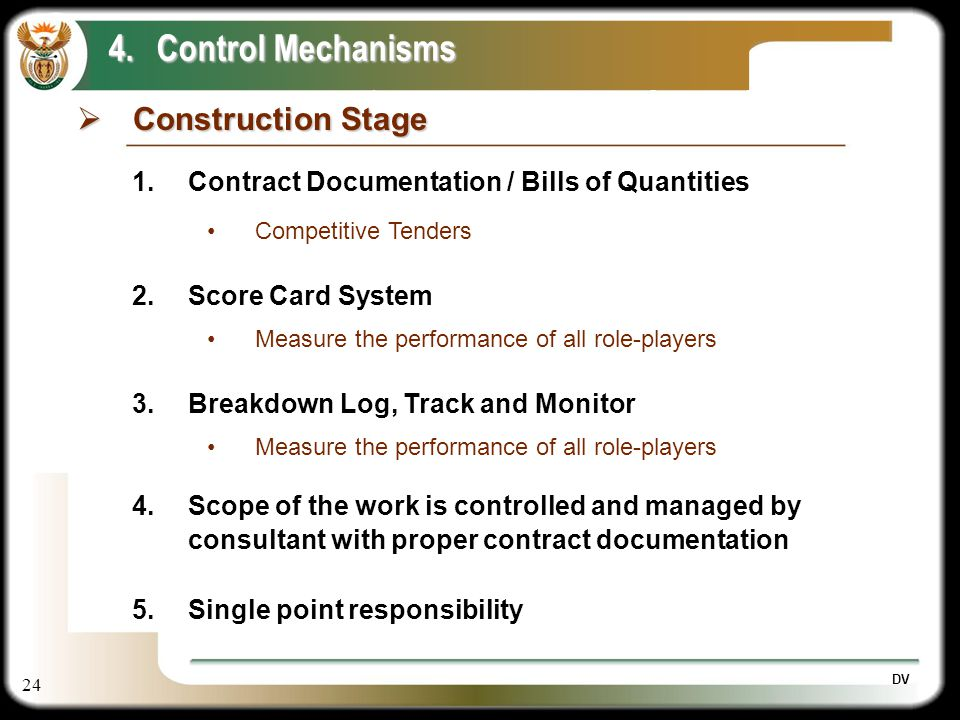 24 DV Construction Stage Construction Stage 4.Control Mechanisms 1.Contract Documentation / Bills of Quantities Competitive Tenders 2.Score Card Syste