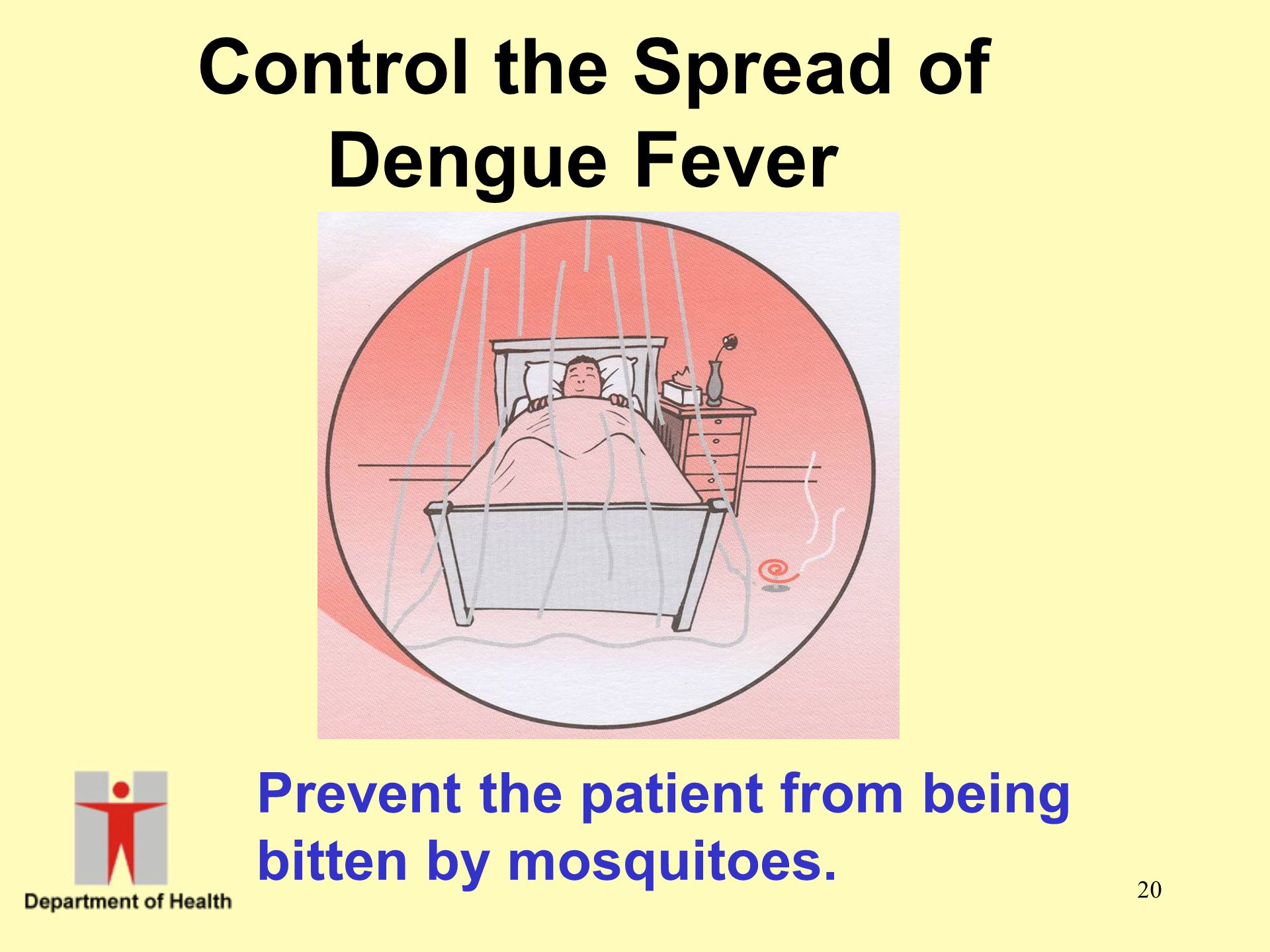 20 Control the Spread of Dengue Fever Prevent the patient from being bitten by mosquitoes.