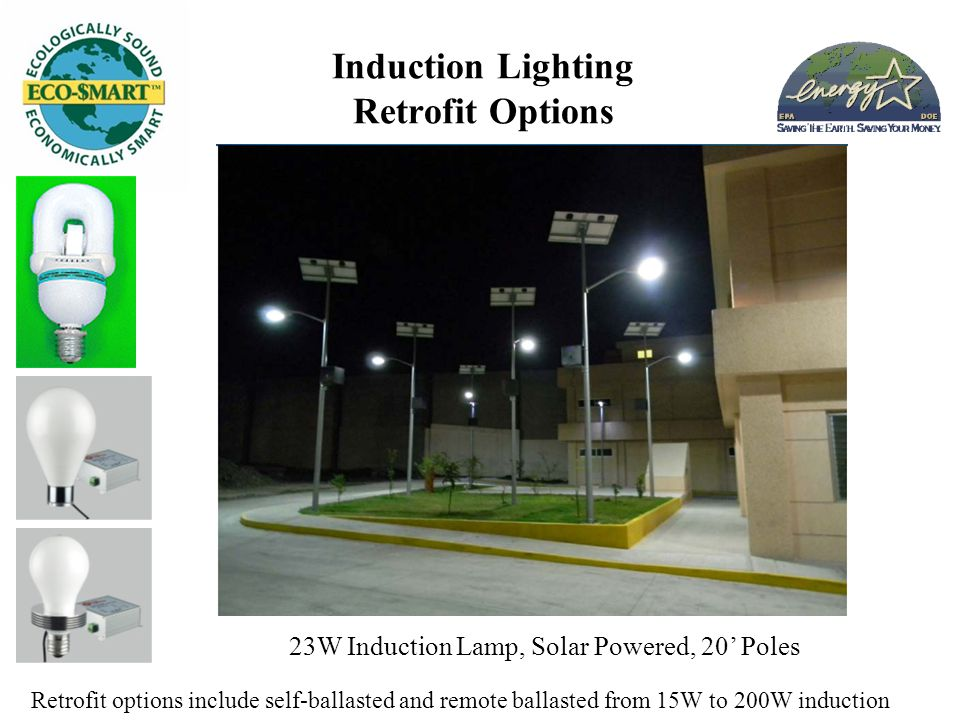 Induction Lighting Retrofit Options Retrofit options include self-ballasted and remote ballasted from 15W to 200W induction 23W Induction Lamp, Solar