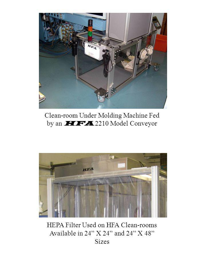 Clean-room Under Molding Machine Fed by an HFA 2210 Model Conveyor HEPA Filter Used on HFA Clean-rooms Available in 24 X 24 and 24 X 48 Sizes