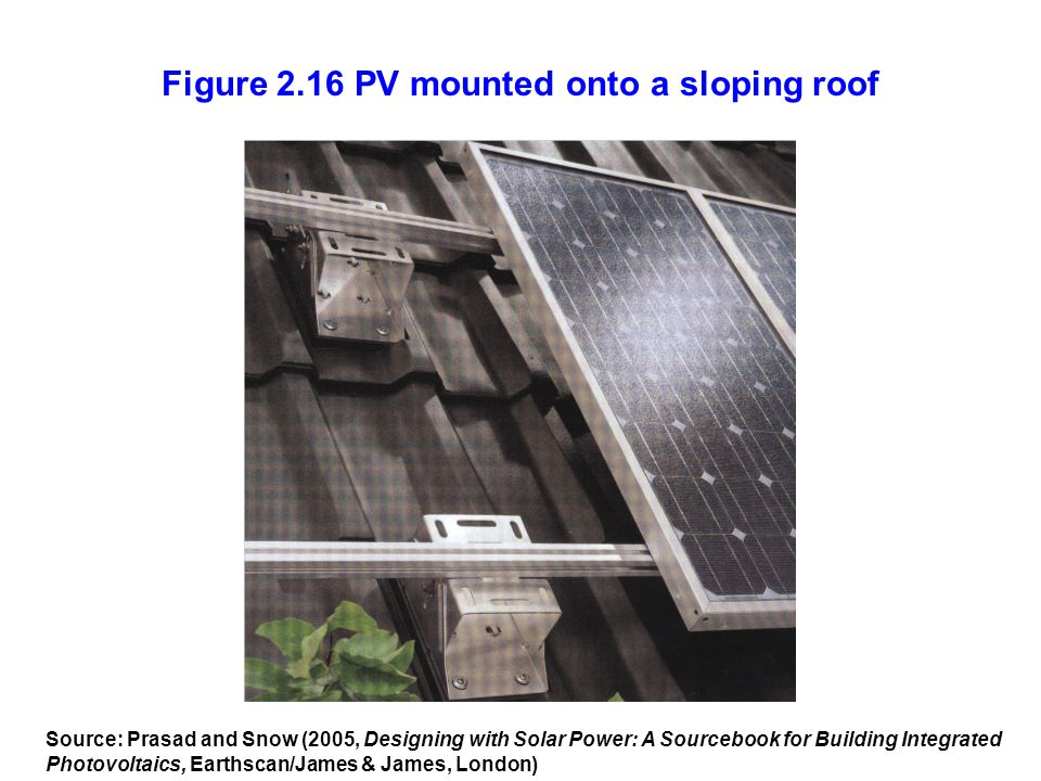 Figure 2.16 PV mounted onto a sloping roof Source: Prasad and Snow (2005, Designing with Solar Power: A Sourcebook for Building Integrated Photovoltai