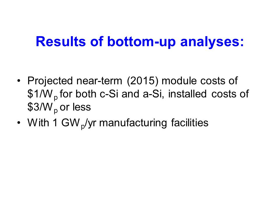 Results of bottom-up analyses: Projected near-term (2015) module costs of $1/W p for both c-Si and a-Si, installed costs of $3/W p or less With 1 GW p