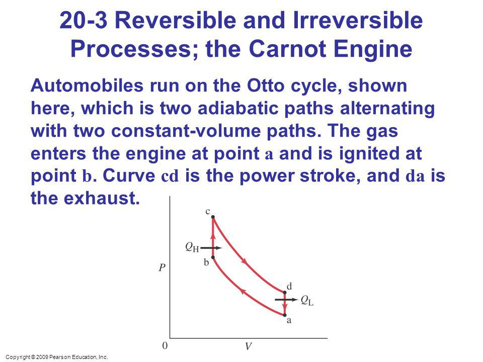 Copyright © 2009 Pearson Education, Inc. 20-3 Reversible and Irreversible Processes; the Carnot Engine Automobiles run on the Otto cycle, shown here,