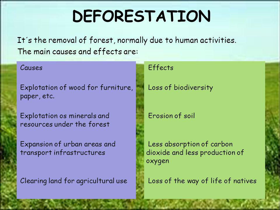 DEFORESTATION It´s the removal of forest, normally due to human activities. The main causes and effects are: Causes Effects Explotation of wood for fu