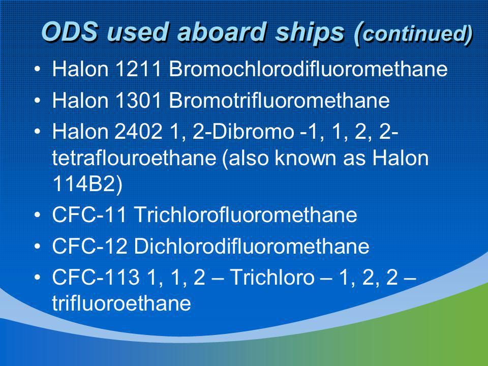 ODS used aboard ships ( continued) Halon 1211 Bromochlorodifluoromethane Halon 1301 Bromotrifluoromethane Halon 2402 1, 2-Dibromo -1, 1, 2, 2- tetrafl