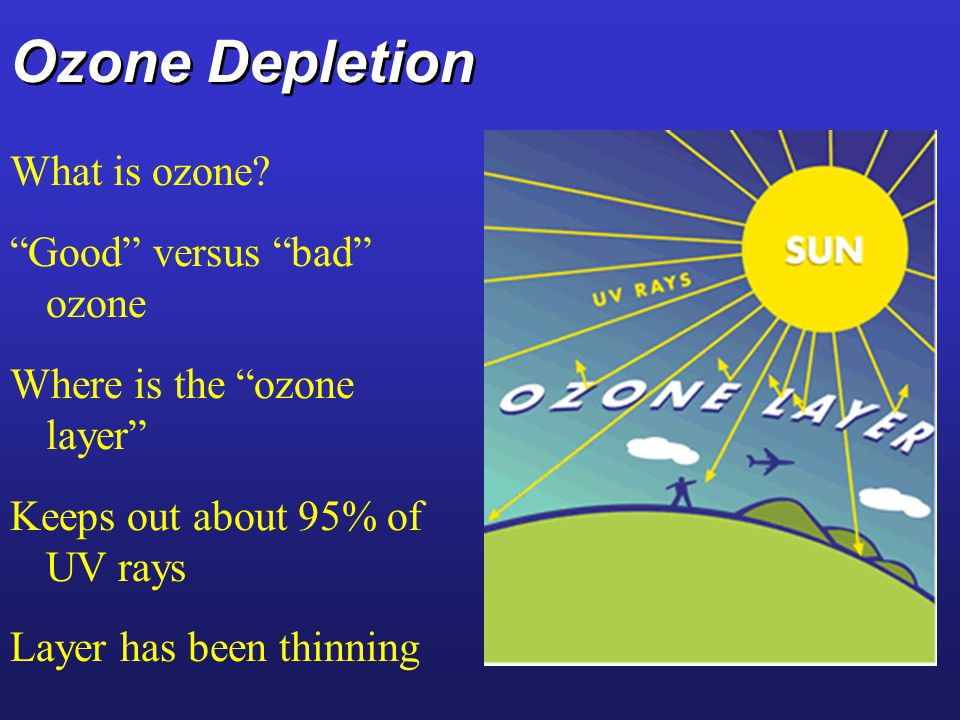 Ozone Depletion What is ozone? Good versus bad ozone Where is the ozone layer Keeps out about 95% of UV rays Layer has been thinning