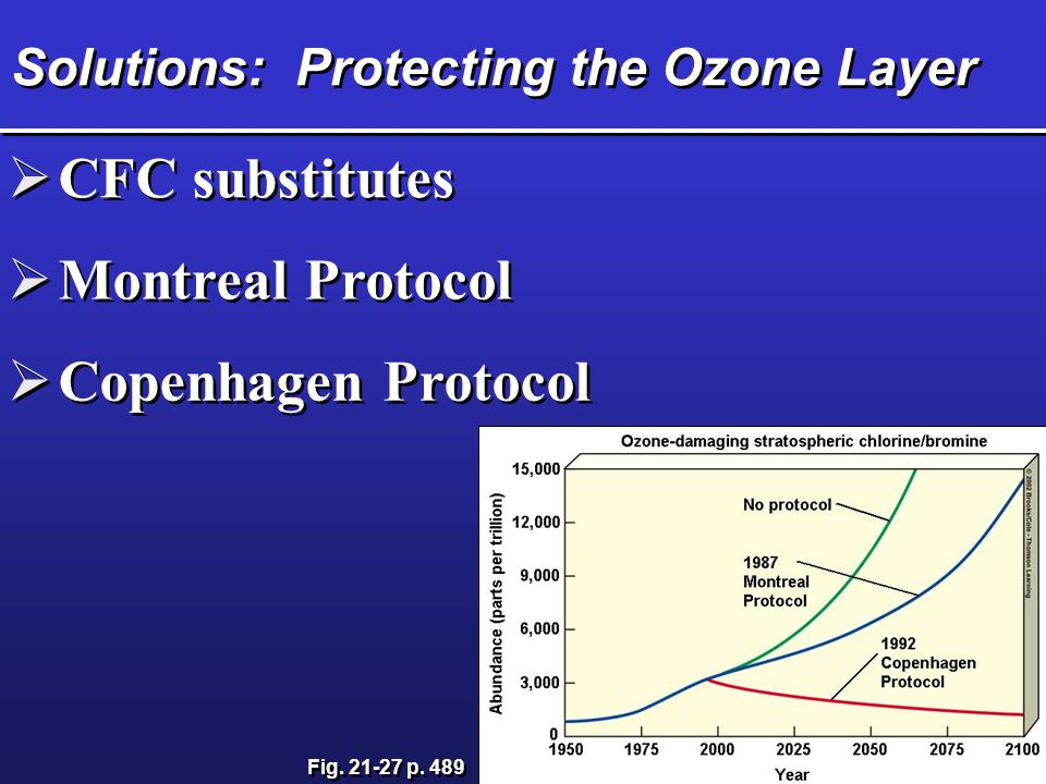 Solutions: Protecting the Ozone Layer CFC substitutes Montreal Protocol Copenhagen Protocol Fig. 21-27 p. 489