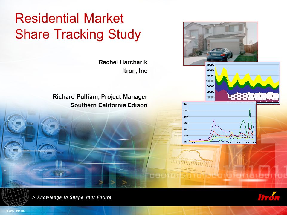 © 2005, Itron Inc. Residential Market Share Tracking Study Rachel Harcharik Itron, Inc Richard Pulliam, Project Manager Southern California Edison