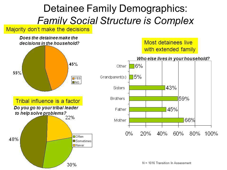Detainee Family Demographics: Family Social Structure is Complex Does the detainee make the decisions in the household.
