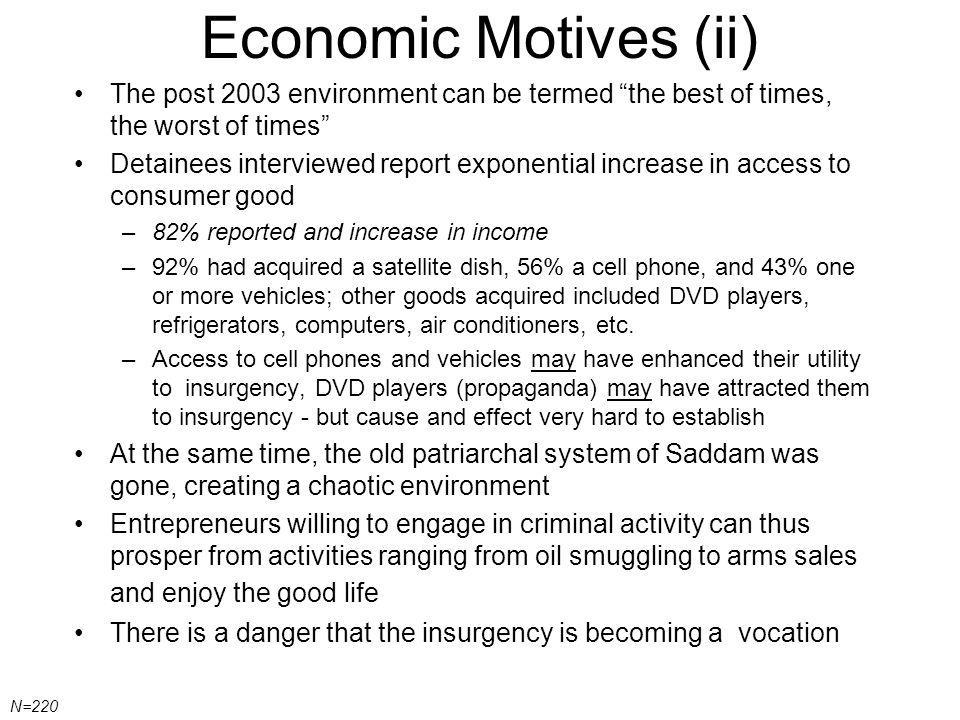 Economic Motives (ii) The post 2003 environment can be termed the best of times, the worst of times Detainees interviewed report exponential increase in access to consumer good –82% reported and increase in income –92% had acquired a satellite dish, 56% a cell phone, and 43% one or more vehicles; other goods acquired included DVD players, refrigerators, computers, air conditioners, etc.