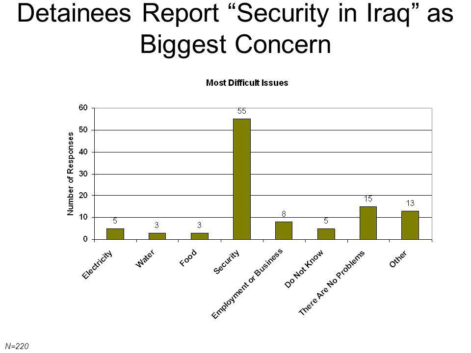 Detainees Report Security in Iraq as Biggest Concern N=220