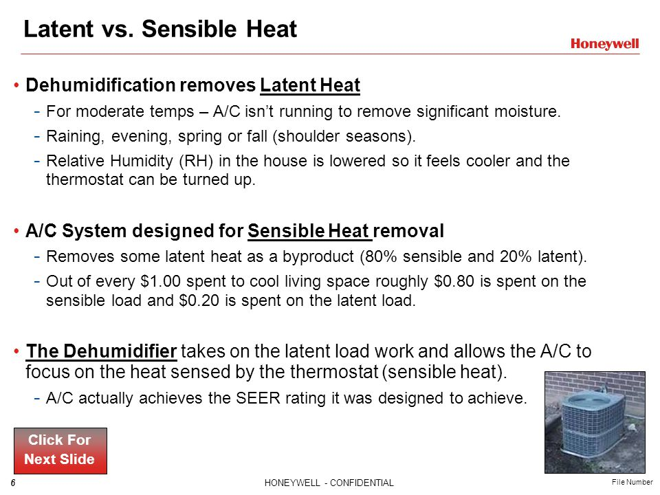 7HONEYWELL - CONFIDENTIAL File Number Homeowners with excess humidity in their homes often purchase portable, single-room dehumidifiers that can be noisy and difficult to maintain.