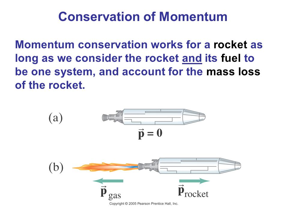 Conservation of Momentum Momentum conservation works for a rocket as long as we consider the rocket and its fuel to be one system, and account for the