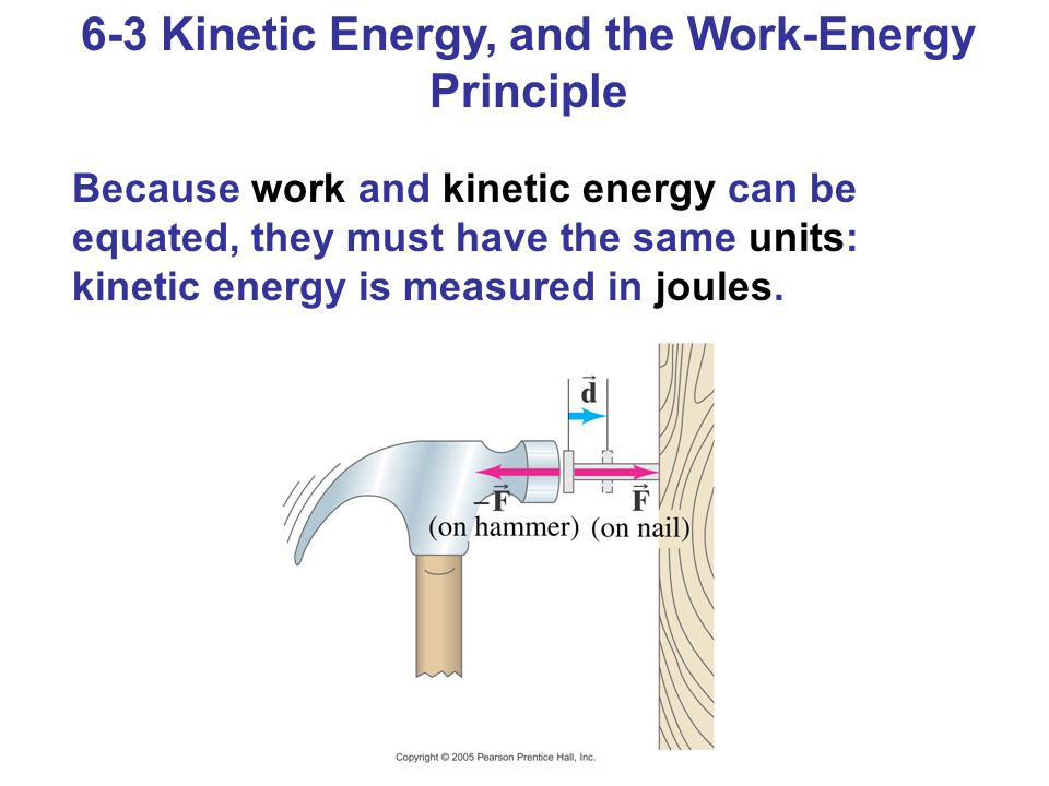 6-3 Kinetic Energy, and the Work-Energy Principle Because work and kinetic energy can be equated, they must have the same units: kinetic energy is mea