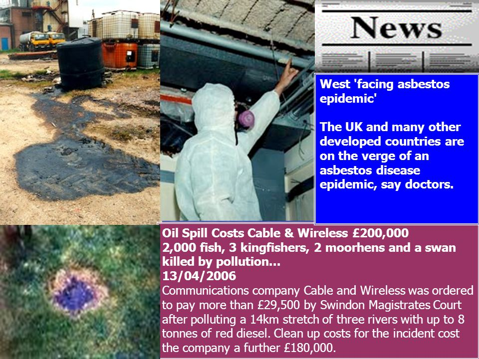 Oil Spill Costs Cable & Wireless £200,000 2,000 fish, 3 kingfishers, 2 moorhens and a swan killed by pollution...