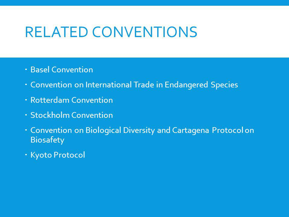 RELATED CONVENTIONS Basel Convention Convention on International Trade in Endangered Species Rotterdam Convention Stockholm Convention Convention on B