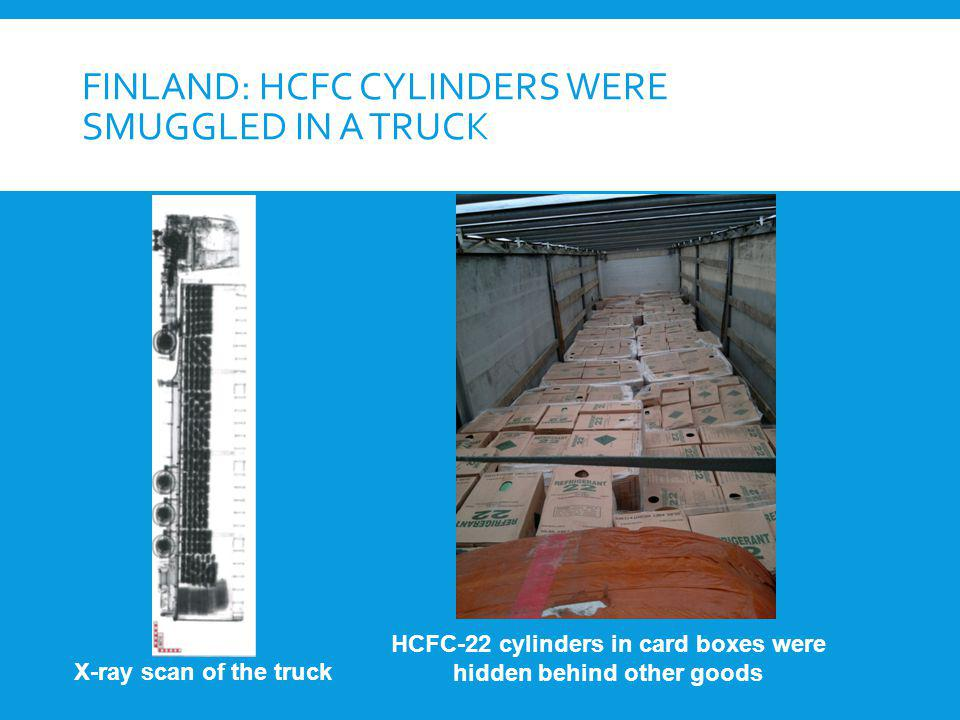FINLAND: HCFC CYLINDERS WERE SMUGGLED IN A TRUCK X-ray scan of the truck HCFC-22 cylinders in card boxes were hidden behind other goods