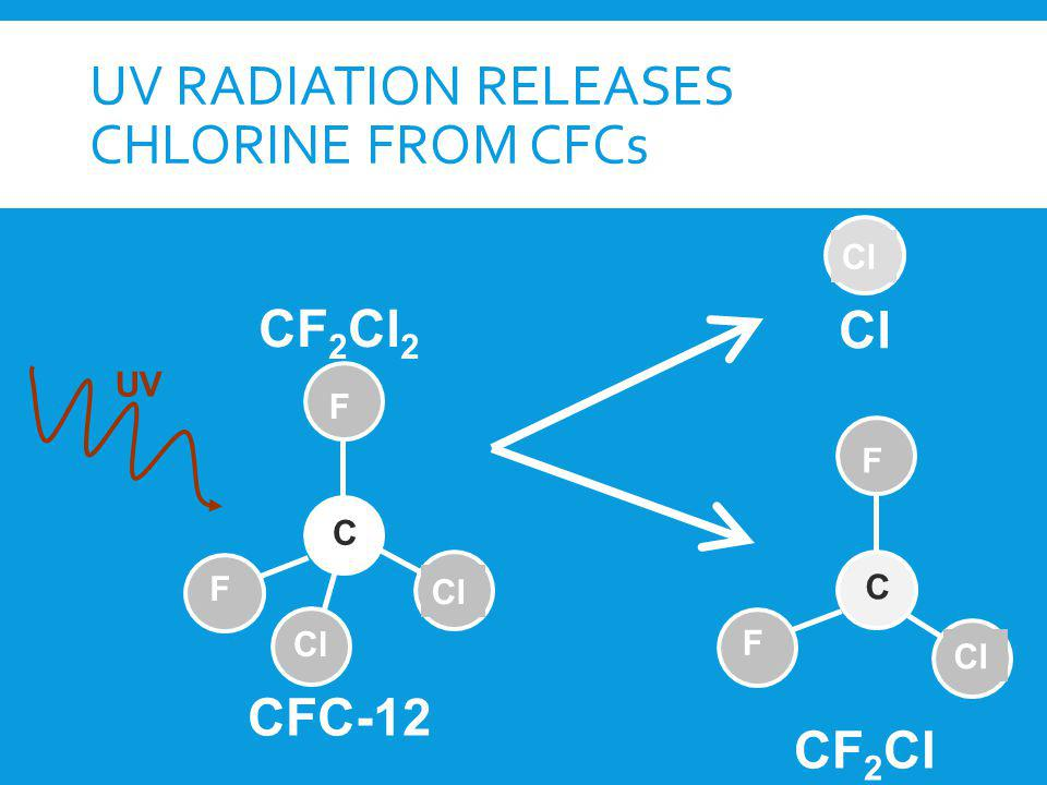 UV RADIATION RELEASES CHLORINE FROM CFCs CF 2 Cl 2 UV CFC-12 Cl C F F C F F CF 2 Cl