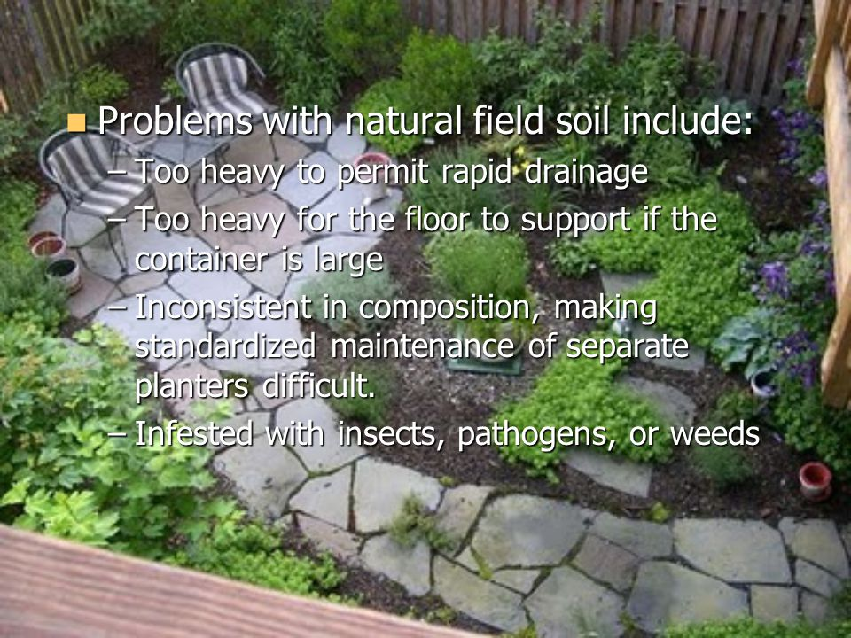 Problems with natural field soil include: Problems with natural field soil include: –Too heavy to permit rapid drainage –Too heavy for the floor to support if the container is large –Inconsistent in composition, making standardized maintenance of separate planters difficult.