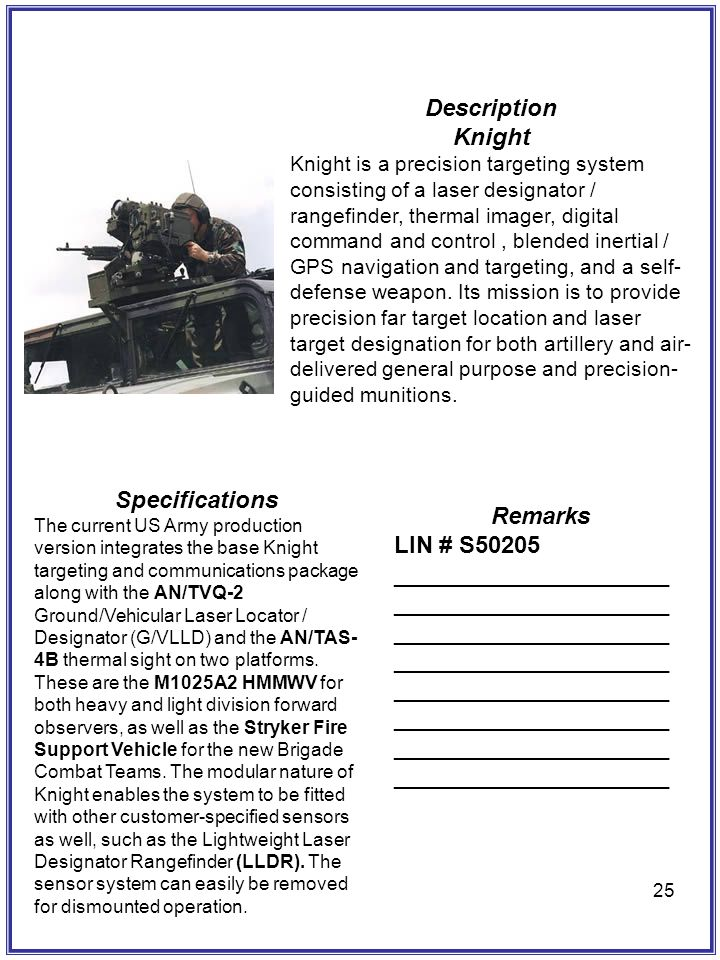 25 Description Knight Knight is a precision targeting system consisting of a laser designator / rangefinder, thermal imager, digital command and contr