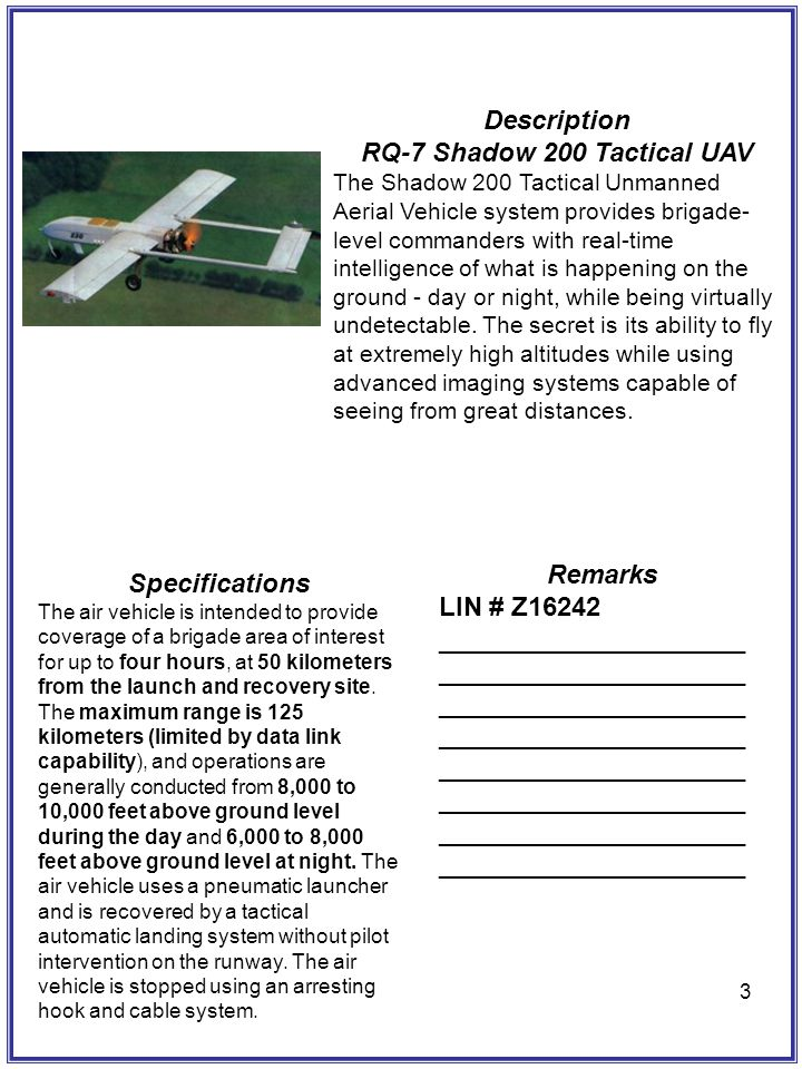 3 Description RQ-7 Shadow 200 Tactical UAV The Shadow 200 Tactical Unmanned Aerial Vehicle system provides brigade- level commanders with real-time in
