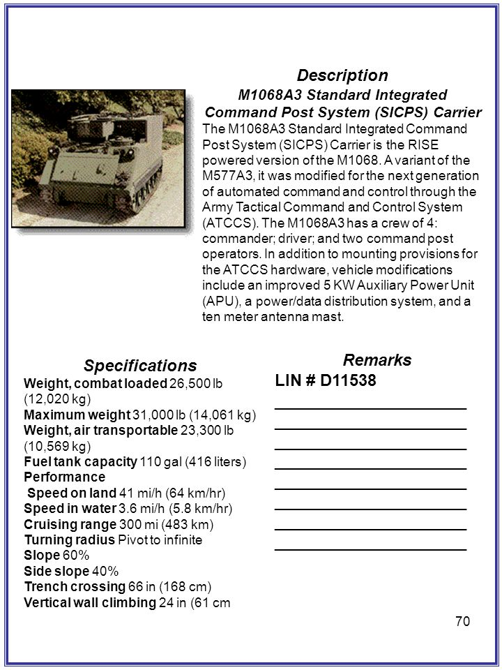 70 Description M1068A3 Standard Integrated Command Post System (SICPS) Carrier The M1068A3 Standard Integrated Command Post System (SICPS) Carrier is