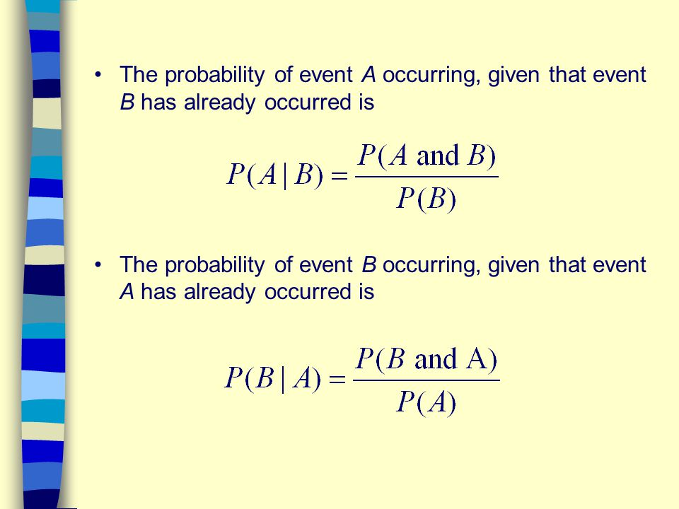 The probability of event A occurring, given that event B has already occurred is The probability of event B occurring, given that event A has already