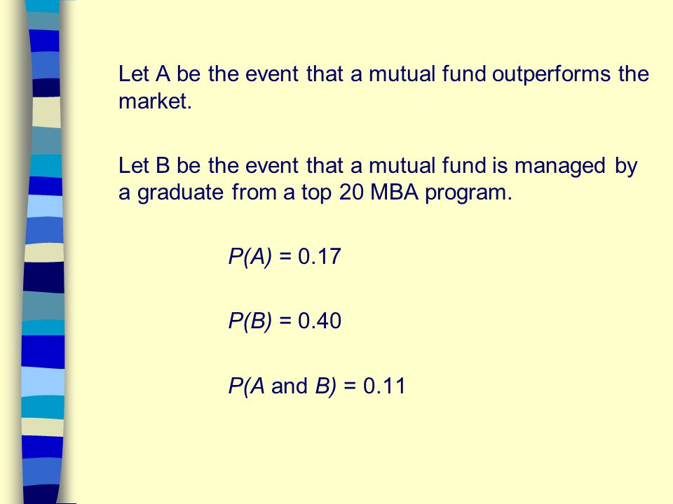 Let A be the event that a mutual fund outperforms the market. Let B be the event that a mutual fund is managed by a graduate from a top 20 MBA program