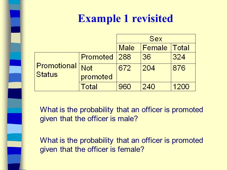 Example 1 revisited What is the probability that an officer is promoted given that the officer is male? What is the probability that an officer is pro