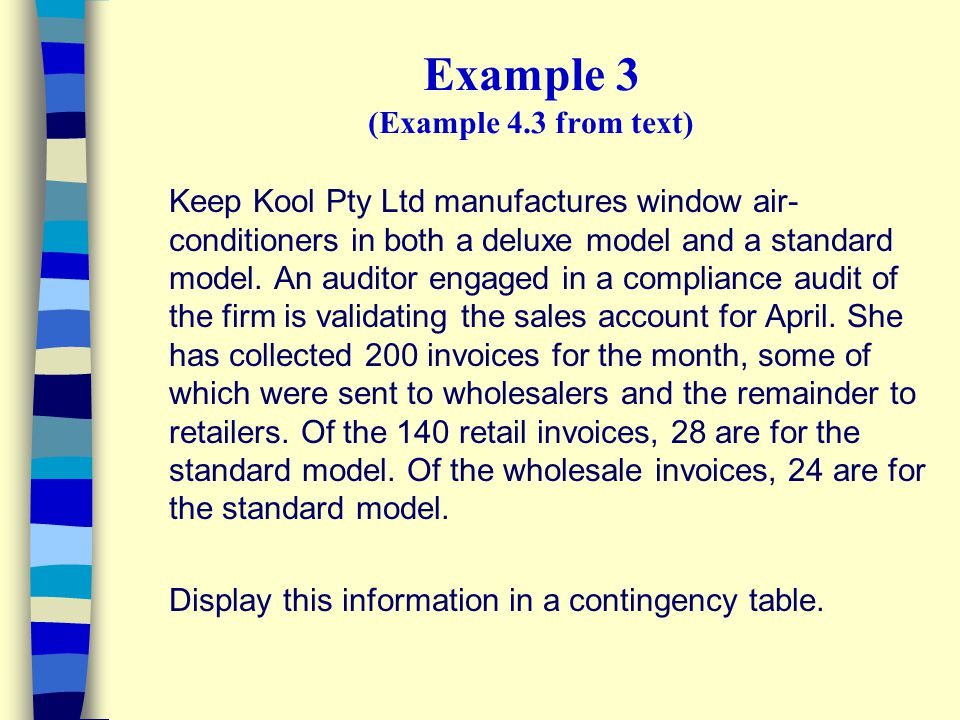 Example 3 (Example 4.3 from text) Keep Kool Pty Ltd manufactures window air- conditioners in both a deluxe model and a standard model. An auditor enga