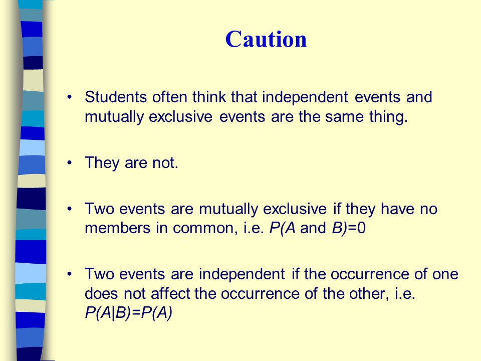 Caution Students often think that independent events and mutually exclusive events are the same thing. They are not. Two events are mutually exclusive