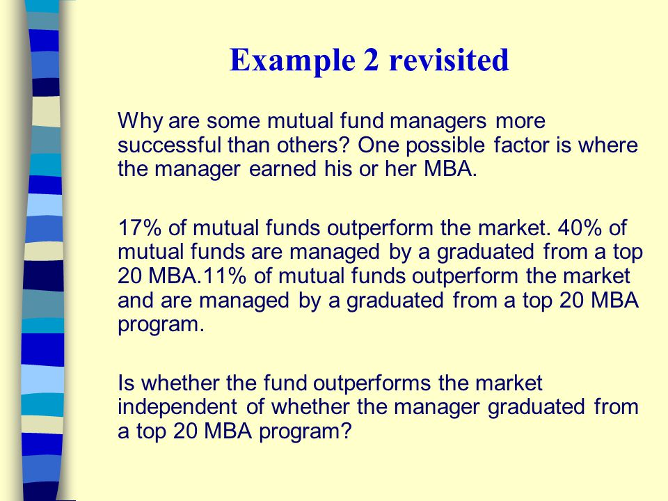 Example 2 revisited Why are some mutual fund managers more successful than others? One possible factor is where the manager earned his or her MBA. 17%