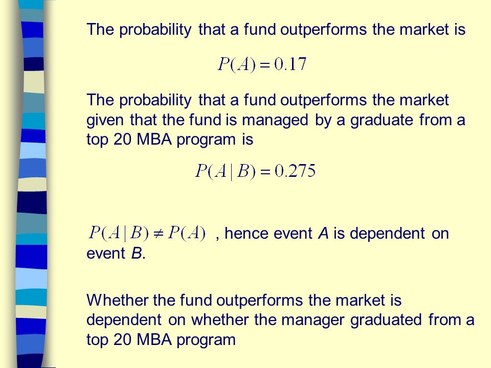 The probability that a fund outperforms the market is The probability that a fund outperforms the market given that the fund is managed by a graduate