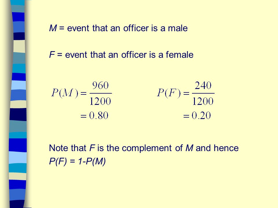 M = event that an officer is a male F = event that an officer is a female Note that F is the complement of M and hence P(F) = 1-P(M)