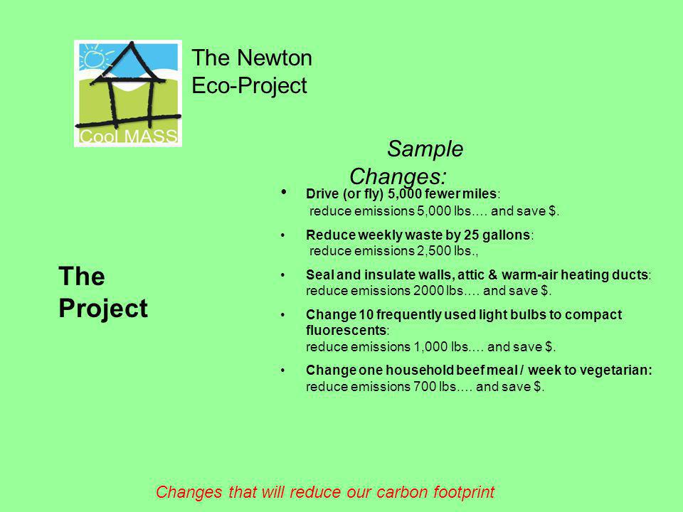 The Newton Eco-Project The Project Sample Changes: Drive (or fly) 5,000 fewer miles: reduce emissions 5,000 lbs.… and save $. Reduce weekly waste by 2